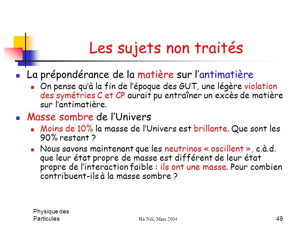 Les sujets non traités La prépondérance de la matière sur l'antimatière.