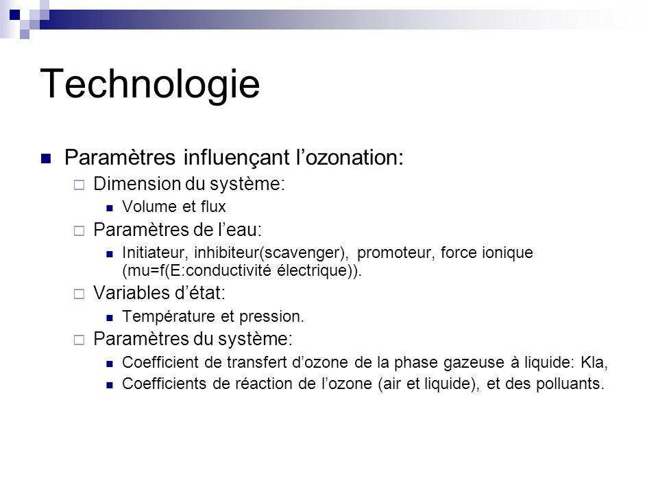 Technologie Paramètres influençant l'ozonation: Dimension du système: