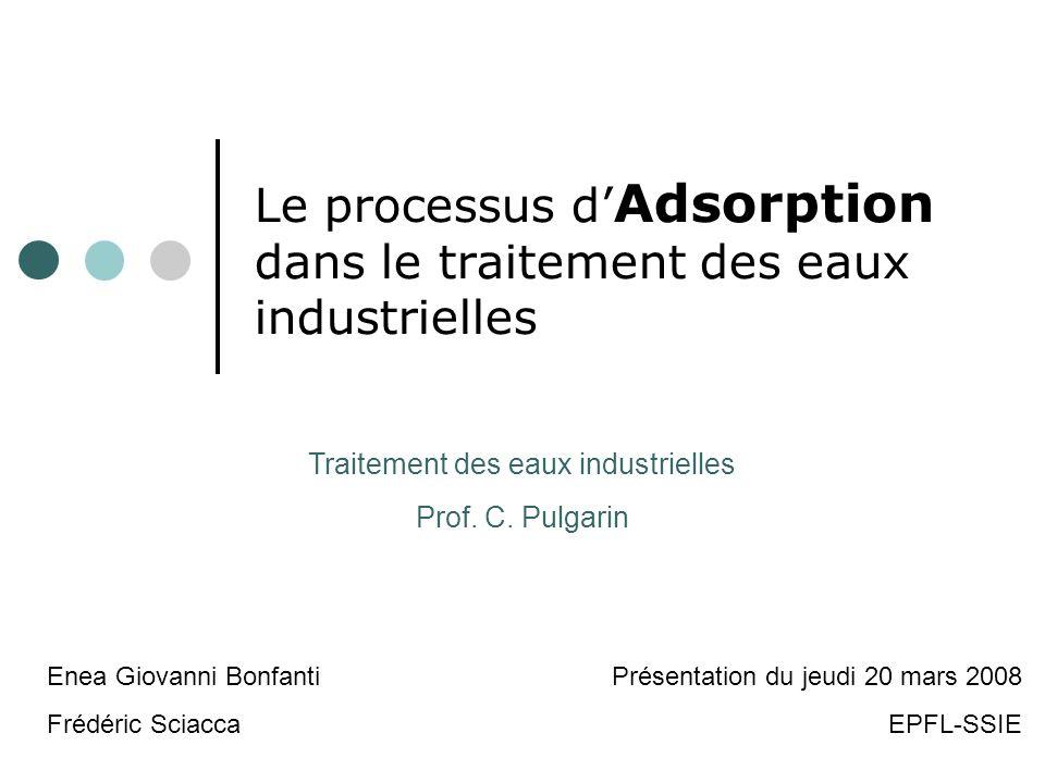 Le processus d'Adsorption dans le traitement des eaux industrielles