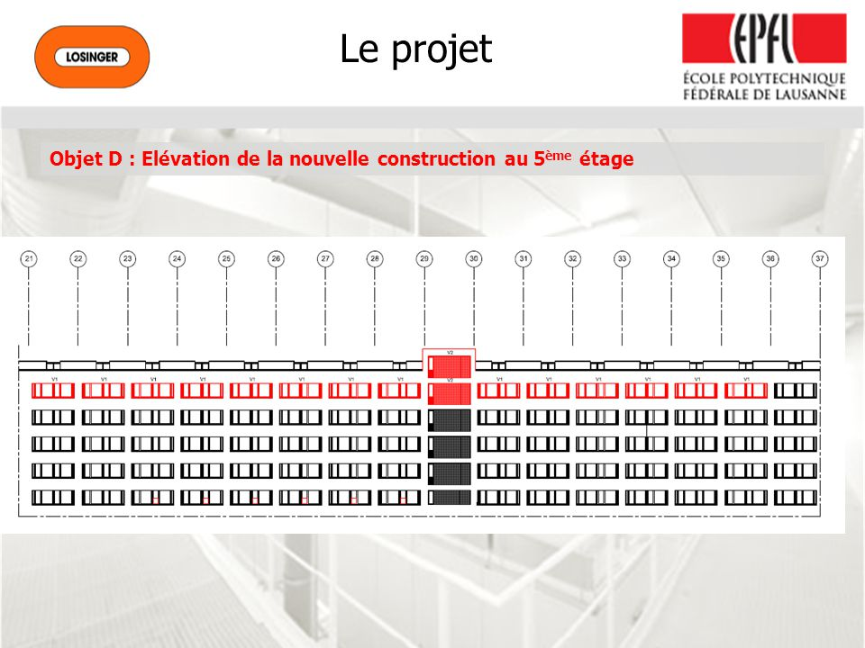 Le projet Objet D : Elévation de la nouvelle construction au 5ème étage