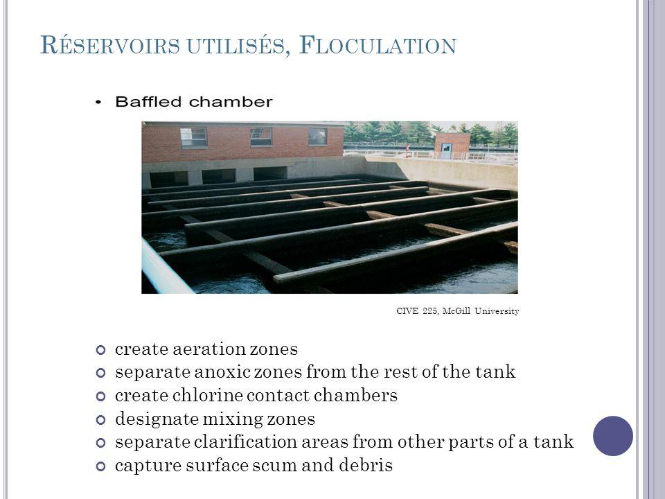 Réservoirs utilisés, Floculation