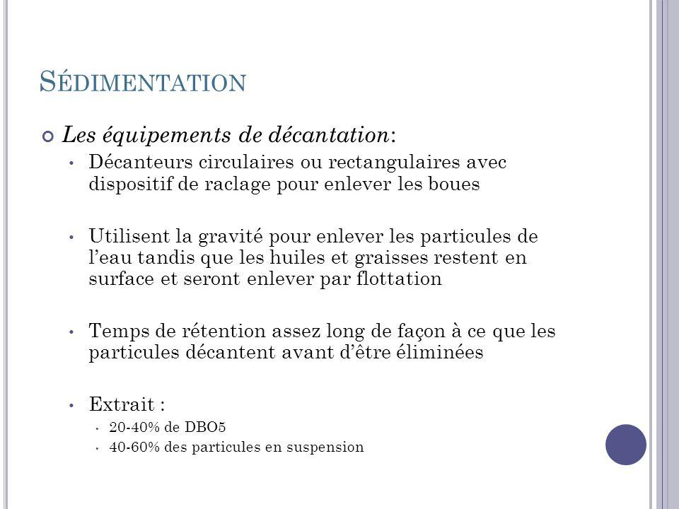 Sédimentation Les équipements de décantation: