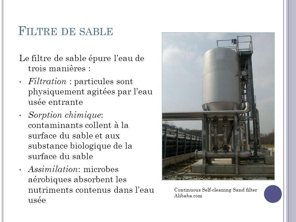 Filtre de sable Le filtre de sable épure l'eau de trois manières :
