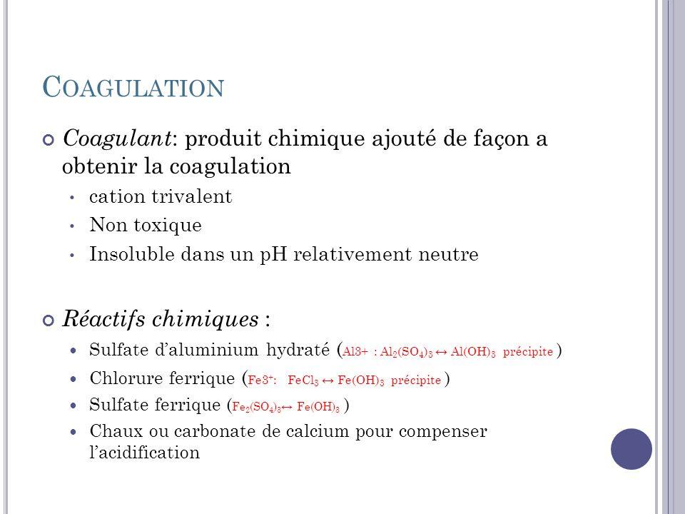 Coagulation Coagulant: produit chimique ajouté de façon a obtenir la coagulation. cation trivalent.