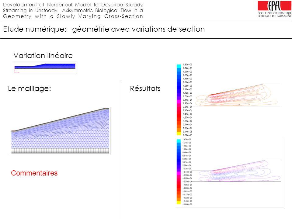 Etude numérique: géométrie avec variations de section