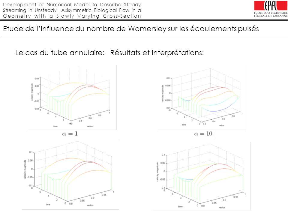 Etude de l'influence du nombre de Womersley sur les écoulements pulsés