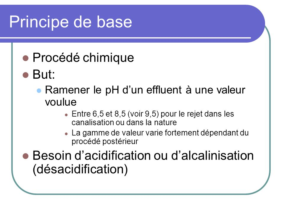 Principe de base Procédé chimique But: