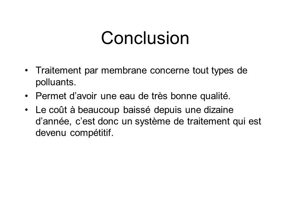 Conclusion Traitement par membrane concerne tout types de polluants.