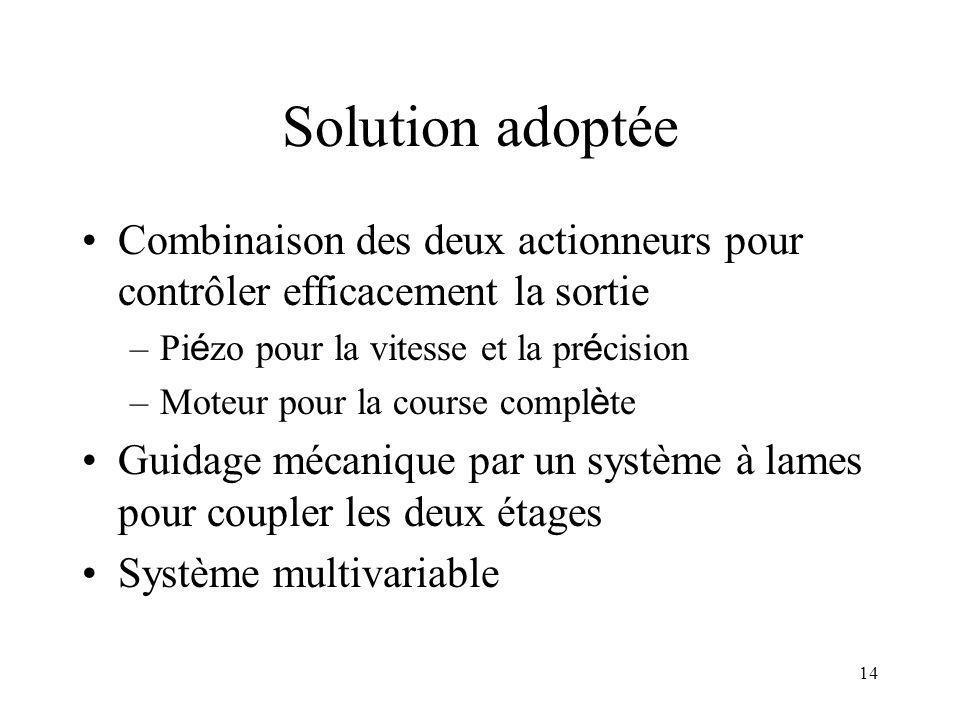 Solution adoptée Combinaison des deux actionneurs pour contrôler efficacement la sortie. Piézo pour la vitesse et la précision.