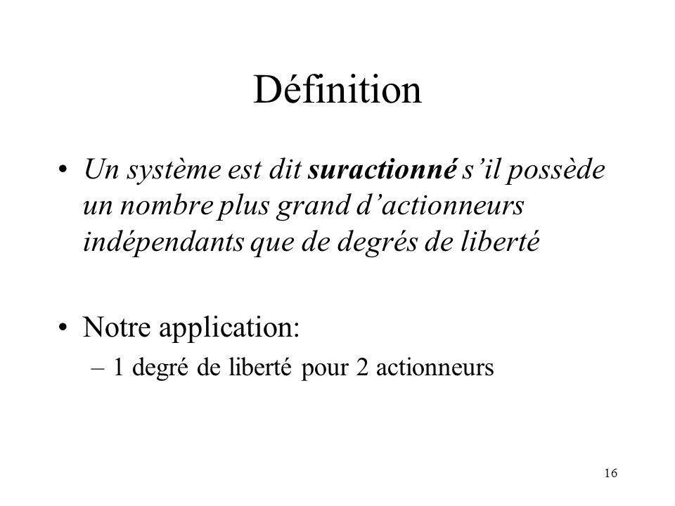 Définition Un système est dit suractionné s'il possède un nombre plus grand d'actionneurs indépendants que de degrés de liberté.