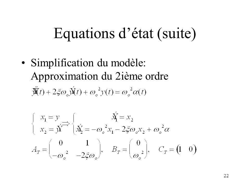 Equations d'état (suite)