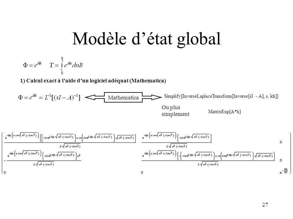 Modèle d'état global 1) Calcul exact à l'aide d'un logiciel adéquat (Mathematica) Mathematica.