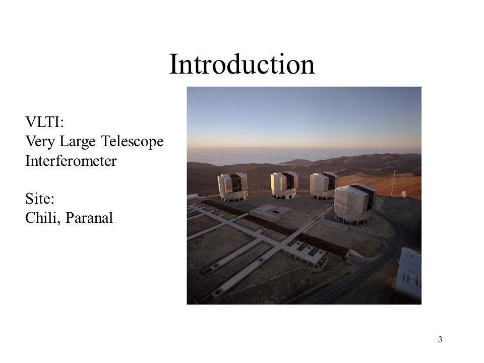 Introduction VLTI: Very Large Telescope Interferometer Site: