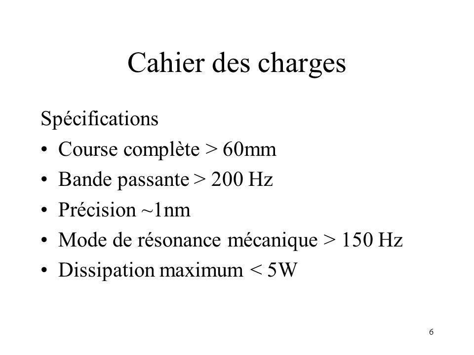 Cahier des charges Spécifications Course complète > 60mm