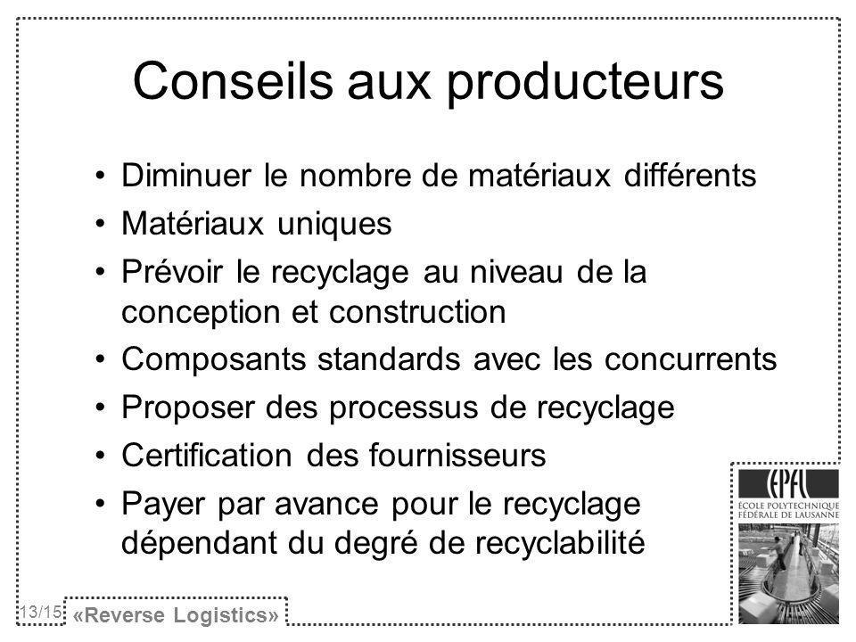 Conseils aux producteurs