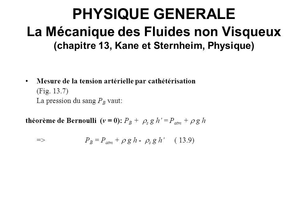PHYSIQUE GENERALE La Mécanique des Fluides non Visqueux (chapitre 13, Kane et Sternheim, Physique)