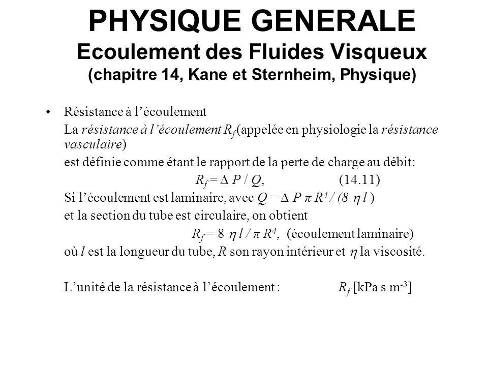 PHYSIQUE GENERALE Ecoulement des Fluides Visqueux (chapitre 14, Kane et Sternheim, Physique)