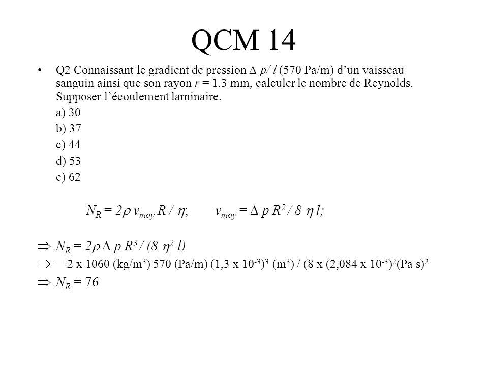 QCM 14 NR = 2 vmoy R / ; vmoy = ∆ p R2 / 8  l;