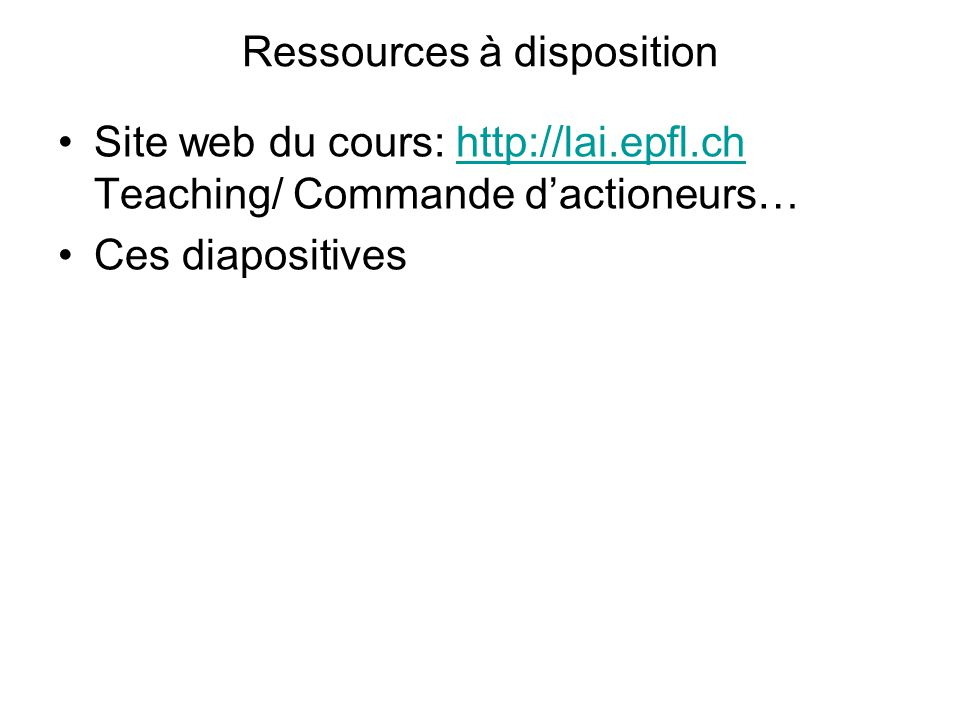 Ressources à disposition