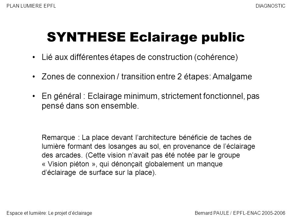 SYNTHESE Eclairage public
