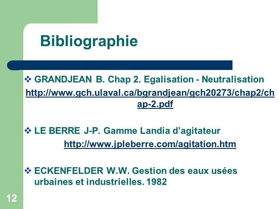 Bibliographie GRANDJEAN B. Chap 2. Egalisation - Neutralisation