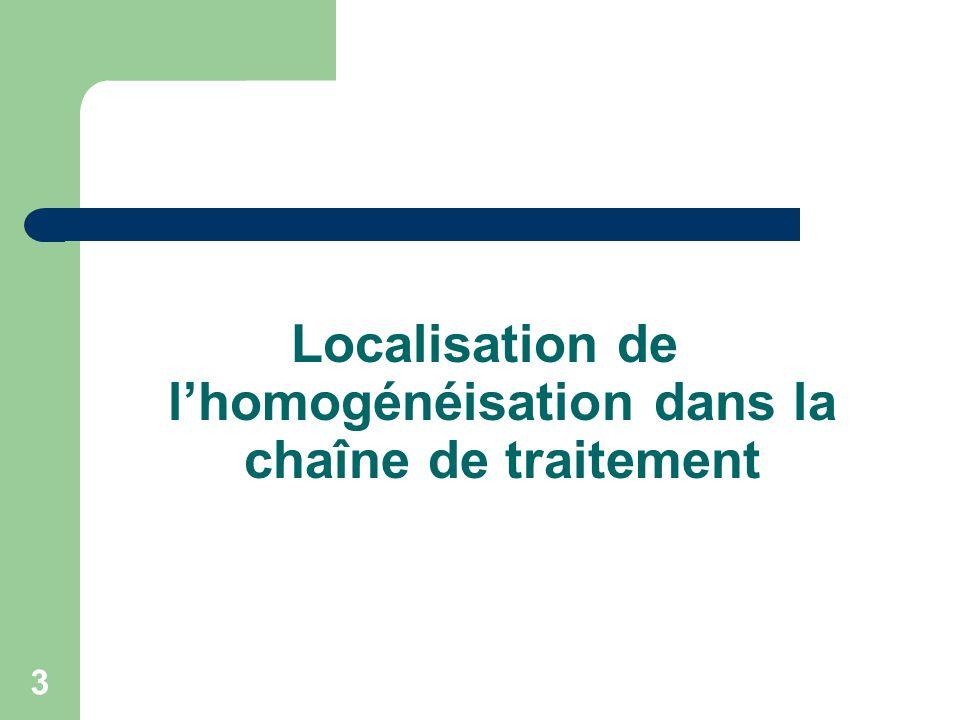 Localisation de l'homogénéisation dans la chaîne de traitement
