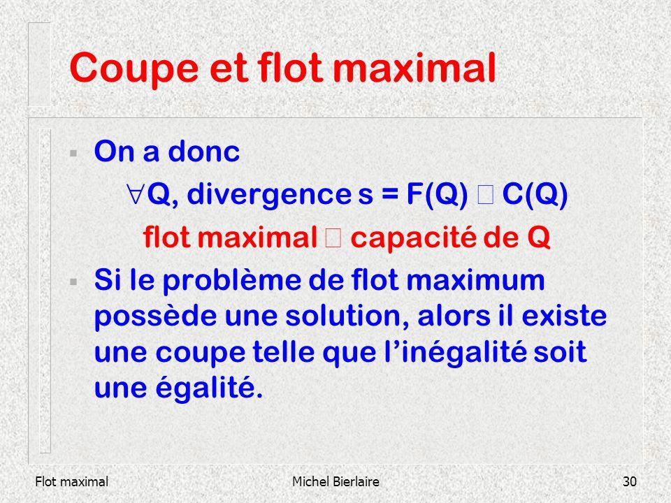 Coupe et flot maximal On a donc Q, divergence s = F(Q) £ C(Q)