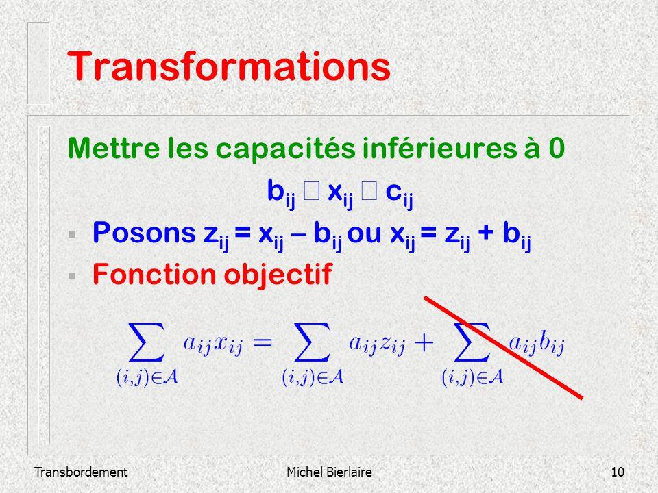 Transformations Mettre les capacités inférieures à 0 bij £ xij £ cij