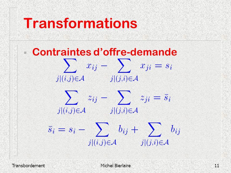 Transformations Contraintes d'offre-demande Transbordement