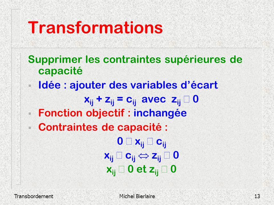 Transformations Supprimer les contraintes supérieures de capacité