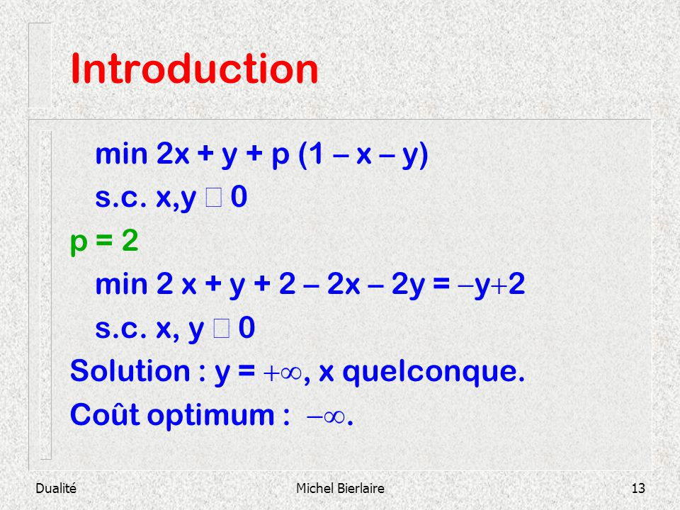 Introduction min 2x + y + p (1 – x – y) s.c. x,y ³ 0 p = 2