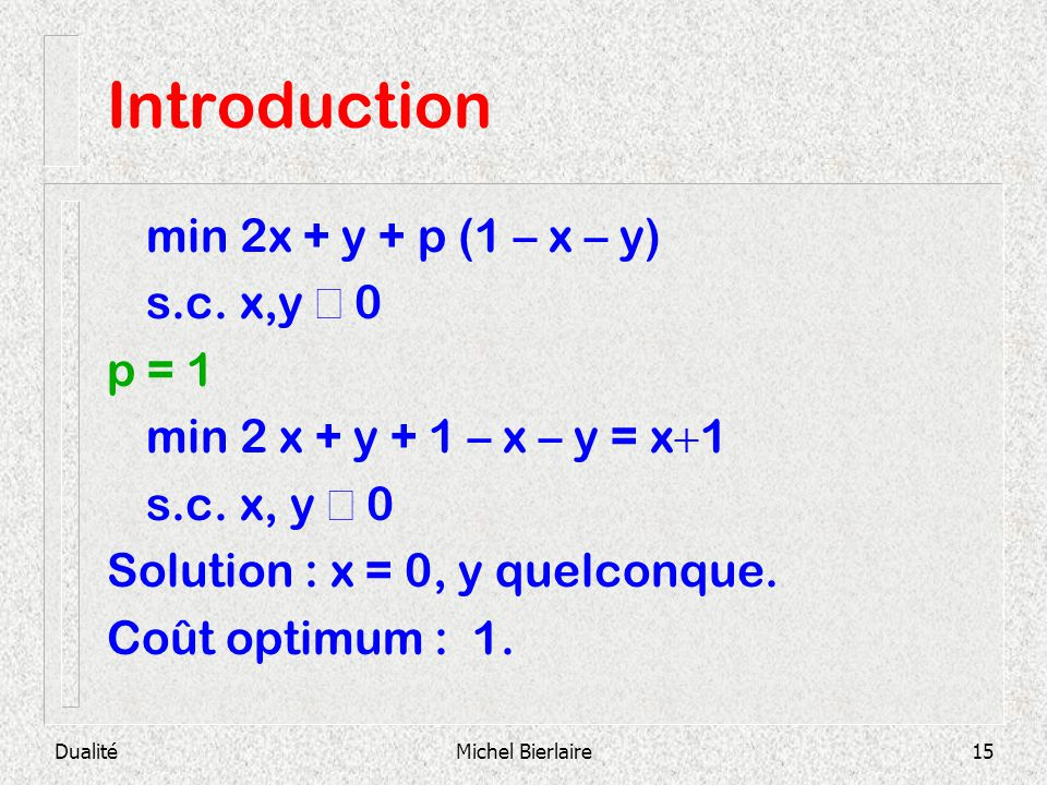 Introduction min 2x + y + p (1 – x – y) s.c. x,y ³ 0 p = 1