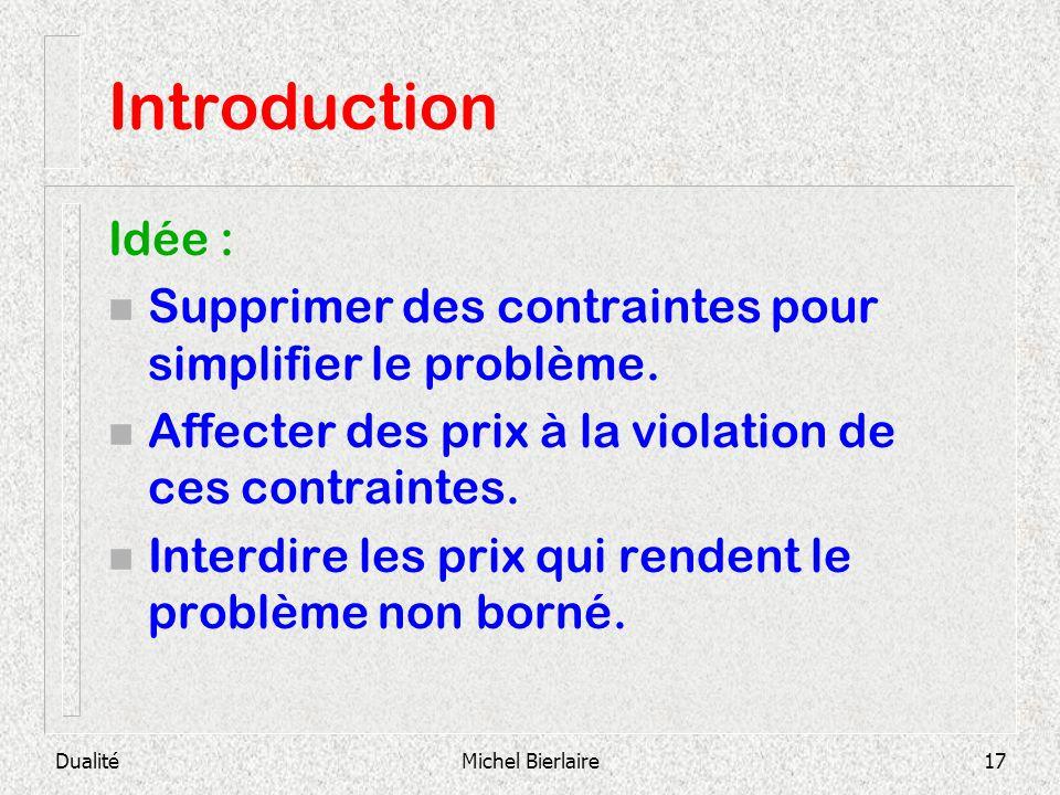 Introduction Idée : Supprimer des contraintes pour simplifier le problème. Affecter des prix à la violation de ces contraintes.
