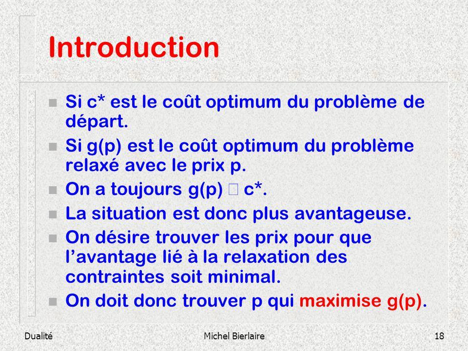 Introduction Si c* est le coût optimum du problème de départ.