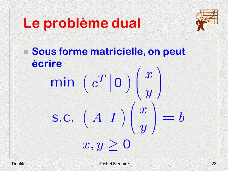 Le problème dual Sous forme matricielle, on peut écrire Dualité