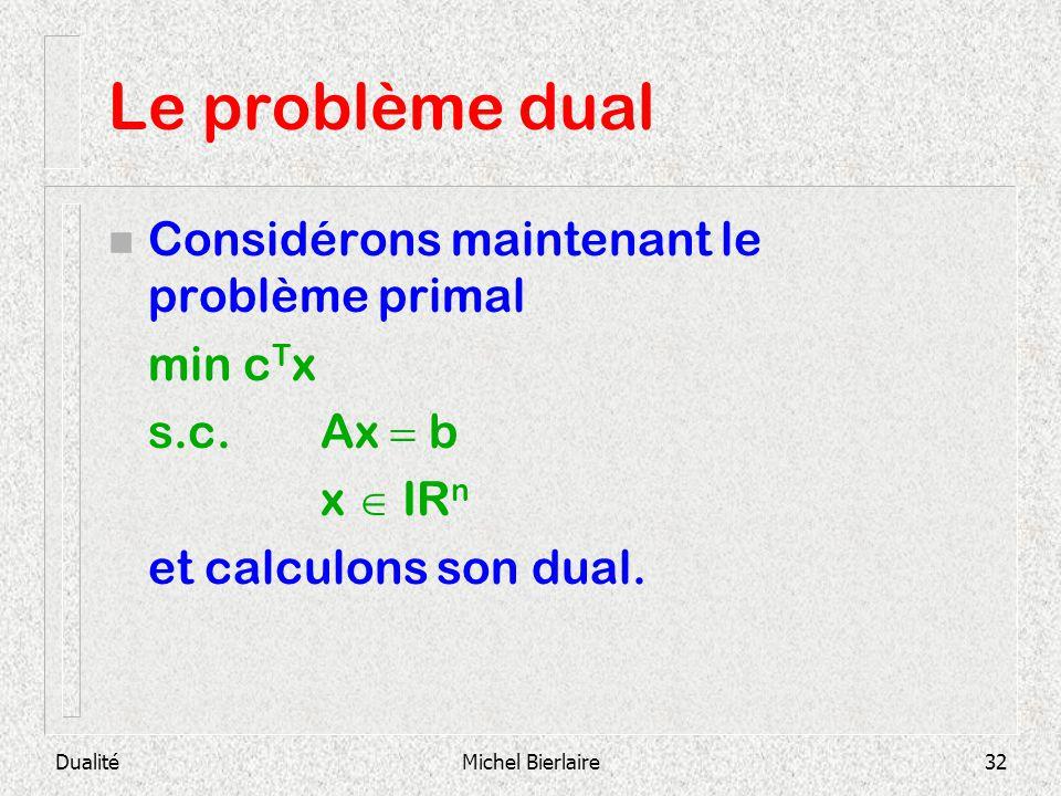 Le problème dual Considérons maintenant le problème primal min cTx