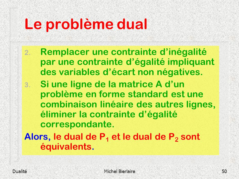 Le problème dual Remplacer une contrainte d'inégalité par une contrainte d'égalité impliquant des variables d'écart non négatives.