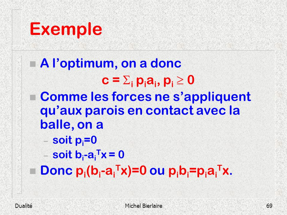 Exemple A l'optimum, on a donc c = i piai, pi  0