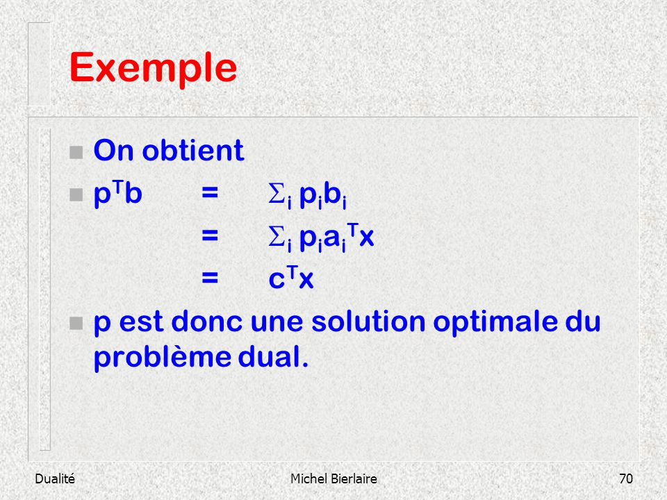 Exemple On obtient pTb = i pibi = i piaiTx = cTx