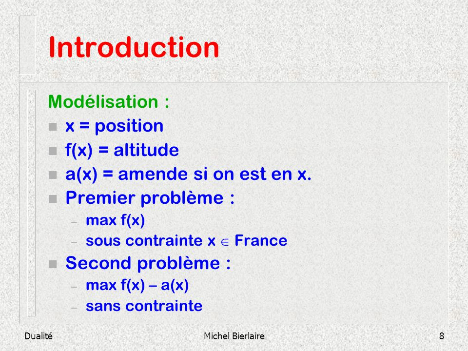 Introduction Modélisation : x = position f(x) = altitude