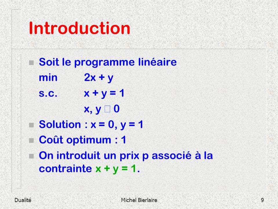Introduction Soit le programme linéaire min 2x + y s.c. x + y = 1