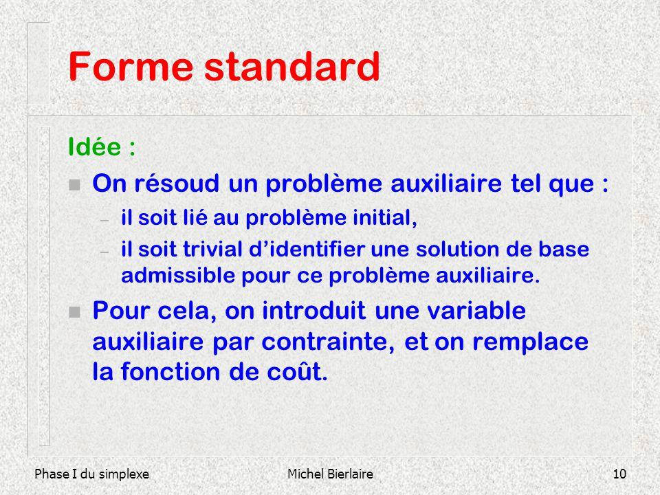 Forme standard Idée : On résoud un problème auxiliaire tel que :