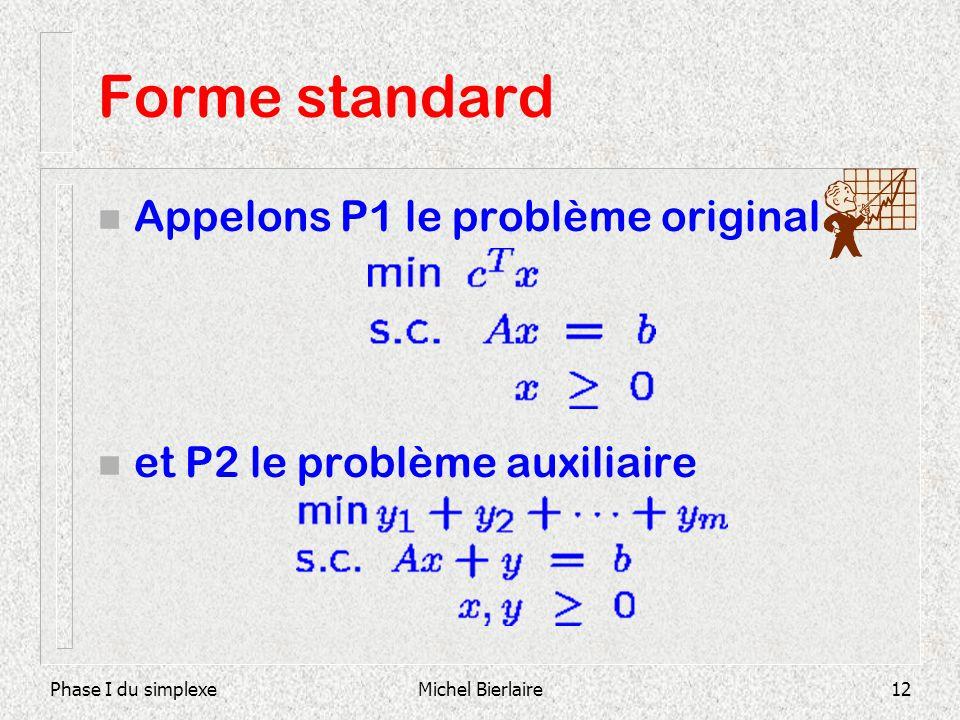 Forme standard Appelons P1 le problème original