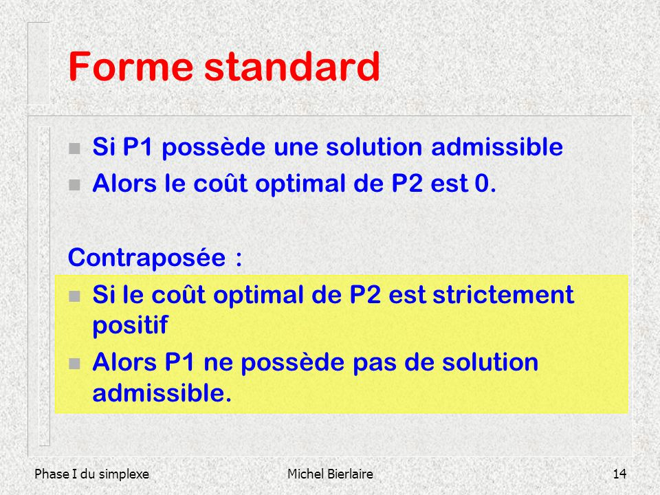 Forme standard Si P1 possède une solution admissible