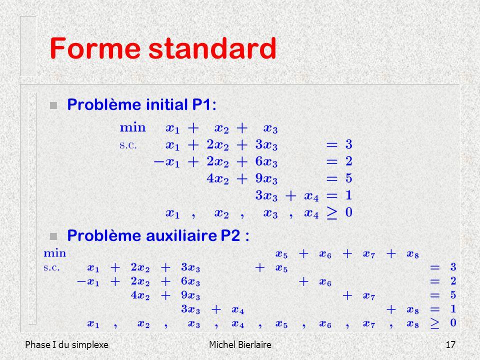 Forme standard Problème initial P1: Problème auxiliaire P2 :