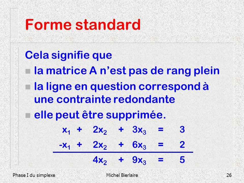 Forme standard Cela signifie que la matrice A n'est pas de rang plein