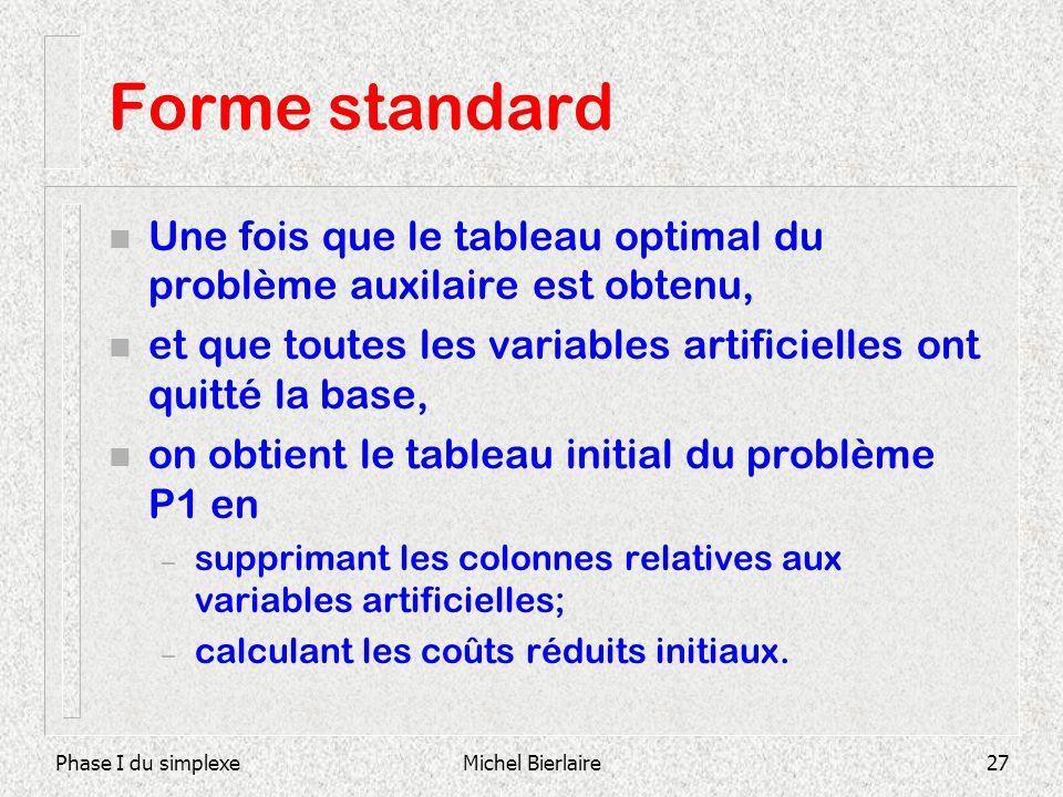 Forme standard Une fois que le tableau optimal du problème auxilaire est obtenu, et que toutes les variables artificielles ont quitté la base,