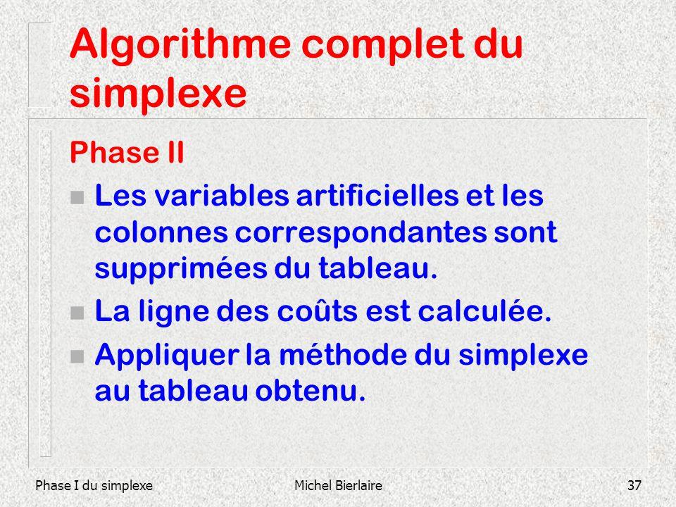 Algorithme complet du simplexe