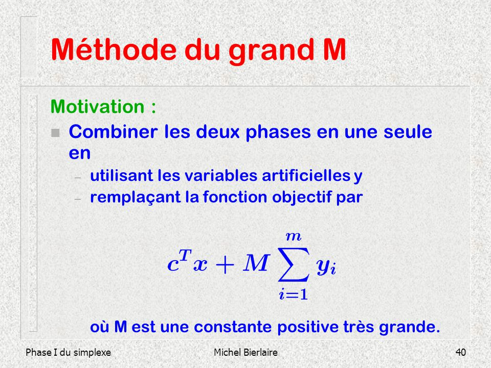 Méthode du grand M Motivation :