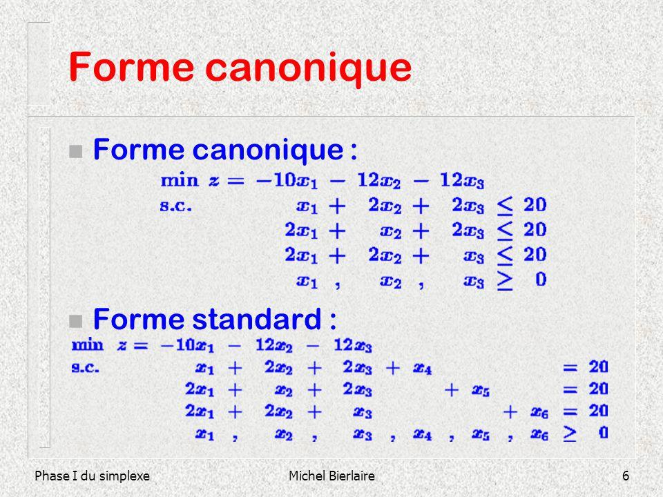Forme canonique Forme canonique : Forme standard : Phase I du simplexe